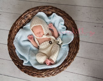 Pixie Bonnet in Ecru with Matching Crochet Baby Pants and Suspenders Available in Newborn to 6 Month Size- MADE TO ORDER