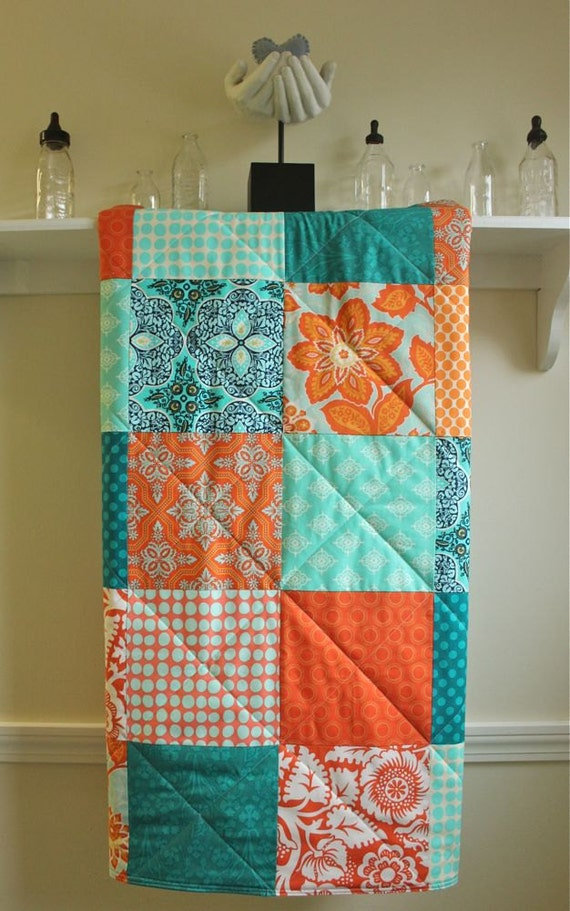 Modern Baby Quilt Turquoise And Tangerine Minky Back