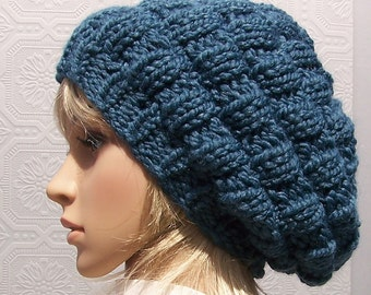 Hand knit hat - beehive hat - denim blue - Winter Fashion accessories Sandy Coastal Designs - made to order