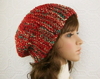 Knit slouch hat - handmade Winter Fashion Fall Fashion by Sandy Coastal Designs - ready to ship