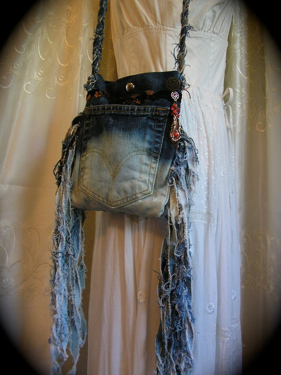 Dipped Dyed Denim Bag, cool Shabby Frayed Tattered fringes, bleached handmade, upcycled blue jean bag pocket