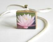 Water Lily photo pendant - Scrabble game piece - letter L