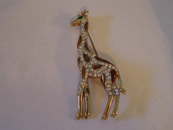 """3"""" Giraffe ENAMEL RHINESTONE Brooch"""