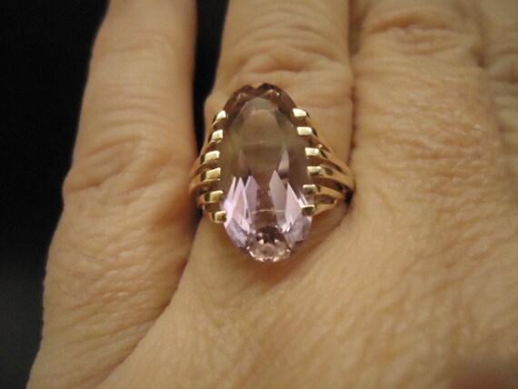 Large 14k Solid GOLD  AMETRINE 14 k kt 18mm x 10mm Gemstone Purple Lavender 4.5 grams RING  Large Size 7