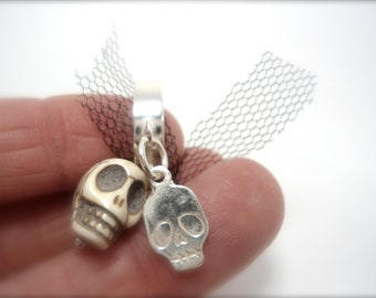 FREE SHIPPING- white skull ring,sterling silver, pink silk and white stone- steampunk- gothic