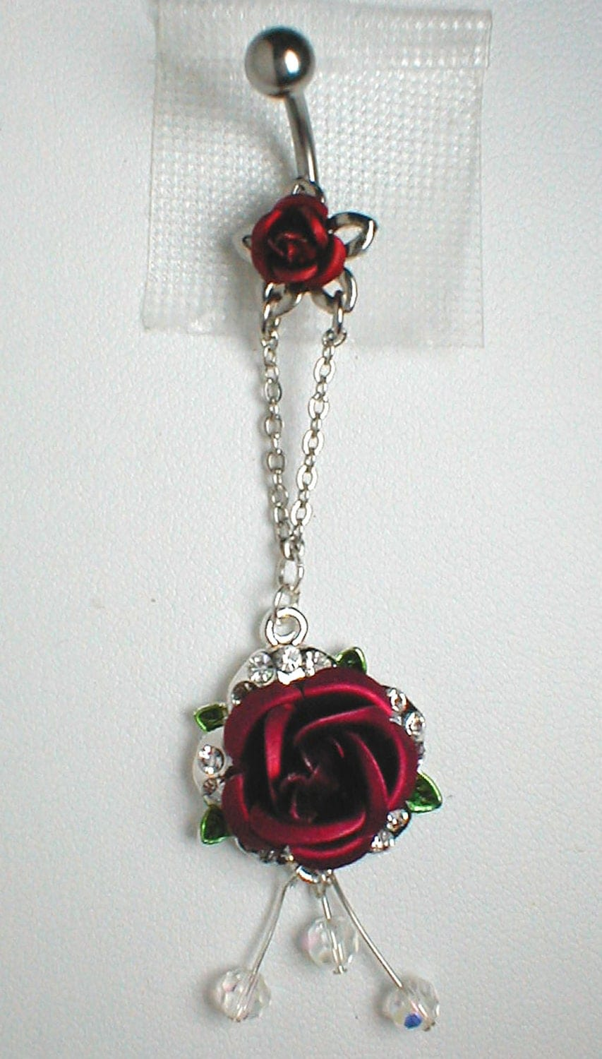 Unique Belly Ring Red Rose Reserved For Bas by pondgazer2004