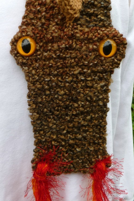 Knit Dragon Scarf Brown and Tan by LifeIsAJourney50 on Etsy
