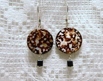 "Round Brown Spotted Shell with Hematite Sterling Silver Dangle Earrings--""Playing in the Dirt"""