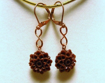 "Acrylic Brown Chrysanthemum and Copper Small Dangle Earrings--""Forever Fall"""