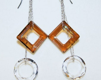 """Reserved for Sarah--Crystal Clear and Copper Swarovski Crystal Sterling Silver Dangle Earrings--""""Shades of Light and Dark"""""""