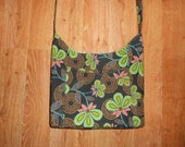 Green and Black Floral Purse