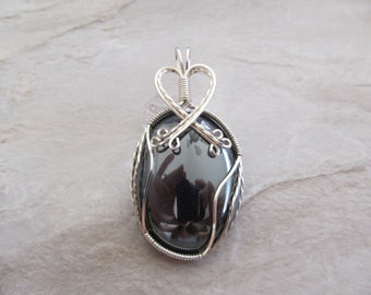Wire Wrapped Pendant Hematite in Silver Craft Wire - One of a Kind - Wirewrapped Wire-Wrapped