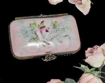 PRICE REDUCTION! Hand Painted Limoges Porcelain Pill Box in Pink and Green