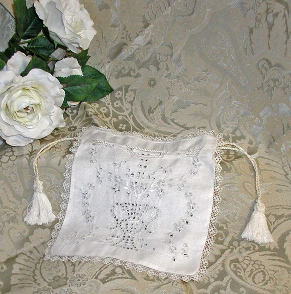 Broderie Anglaise and Filet Lace Reticule in Creamy White Linen With Pull Cords and Tassels