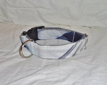 Nautical Plaid - Small Medium dog collar - 4th of July Blue White Modern
