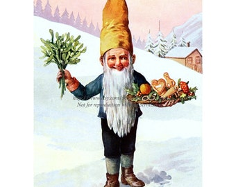 Christmas Gnome Magnet - Carries Mistletoe and Gifts - Stocking Stuffer