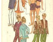 Vintage 1970s Barbie Ken Pattern Simplicity 9054 complete Mod Barbie Pattern Bikini Trunks Hippie Fringed Vest Mod Suit Formal Wear