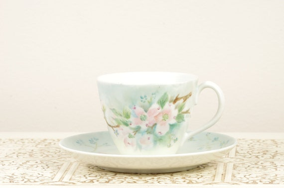 Tea Cup and Saucer with Hand Painted Cherry Blossom Details