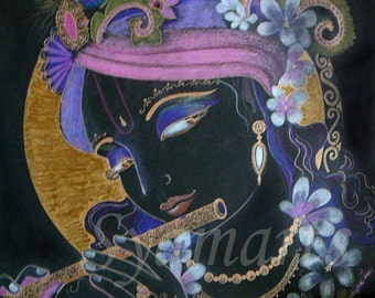 Krishna krsna drawing Transcendental flute player stealer of hearts Devotional art sacred temples vedic blackish lotus eyes syamarts