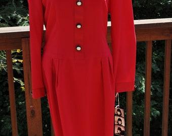 NOS vintage Red dress. Size 10 Long sleeve dress. Donna Ricco semi formal. Dressy dress.