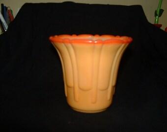 Akro Agate Orange Scalloped Top Rib Flute Vase