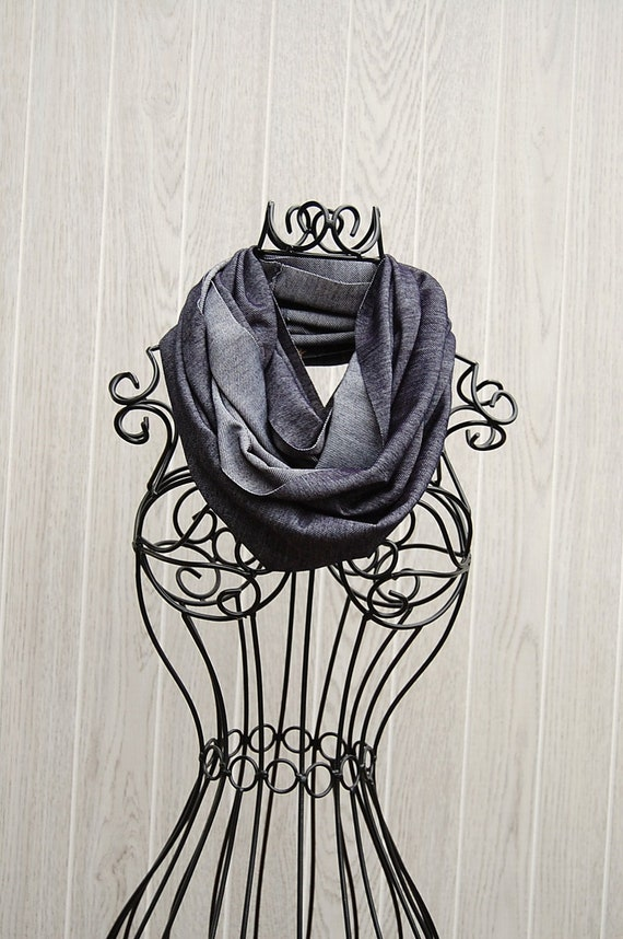 NEWLY REDUCED Navy Denim Unisex Jersey Skinny INFINITY Scarf-Fall/Winter Scarf-Neckwear-Fashion Scarf-Unisex Scarf by The Accessories Nook