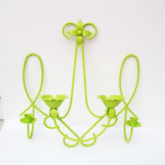 Metal Candle Sconce Wall Mounted Candle Holders / Wall Hanging / Upcycled / Retro Glam / Lime Green