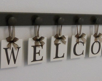 WELCOME Entry Sign Hanging Letters - Wood Knob - Letter Blocks - Hearts - Painted Chocolate Brown - Home Entryway - Hanging Wall Art Decor
