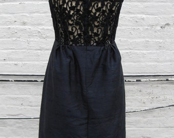 Navy Shantung Scoopneck Cocktail Dress with Lace Back