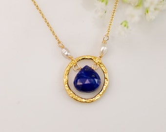 Lapis Lazuli Necklace - Gemstone Necklace - Gold Necklace - Hammered Circle Necklace- September Birthstone Necklace