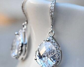 Bridal Jewelry Bridal Earrings Drop Earrings Wedding Jewelry Chandelier Earrings Bridesmaid Gift Sterling Silver Dangle Earrings Diamond