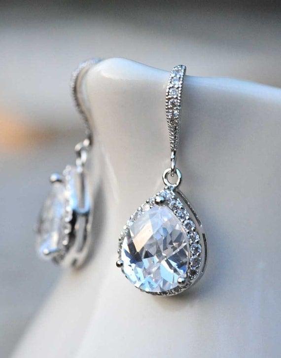 bridal jewelry drop earrings vintage earrings by notonesparrow