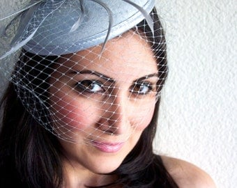 "Gray Fascinator - ""Juliet"" Gray Round Felt Sinamay Hat w/ Feathers and Satin Ribbons"