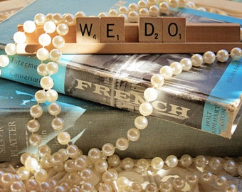 Vintage Wedding We Do Scrabble Sign Vintage Weddings Party Decorations Photo Booth Props Guest Book Table Decor by HeatherVintage88 on Etsy
