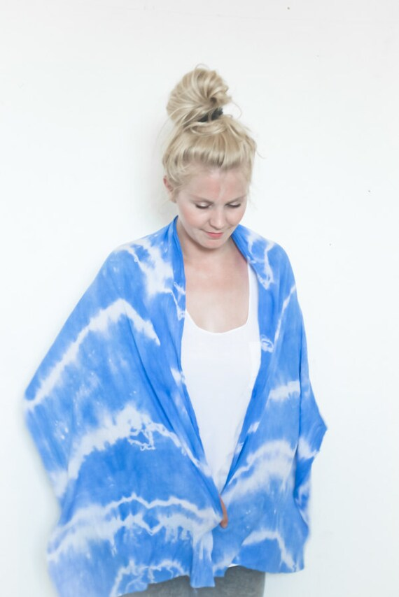 Tie dye blue hand dyed cotton scarf - last one