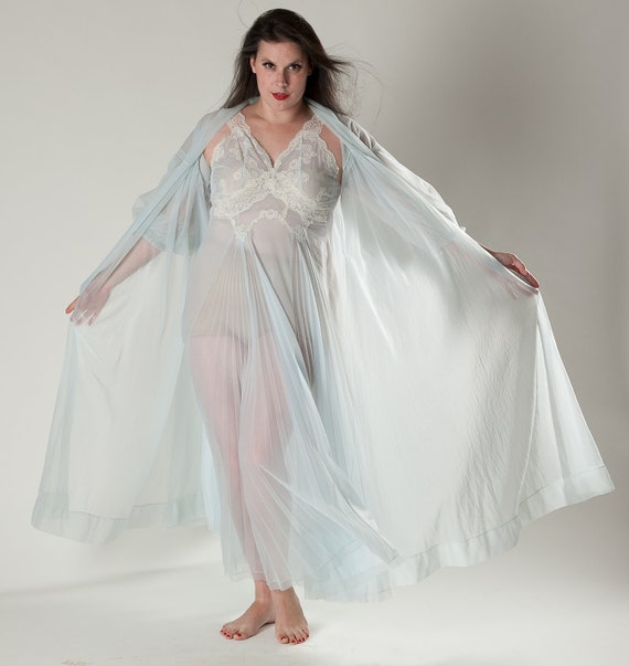 Blue nightgown lingerie lace nightie robe boudoir bridal fashions