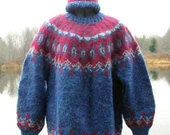 Handknit, Nordic Design, Unisex, Lopi Wool Sweater, Size: L - XL