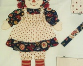 Raggedy Ann Fabric RAG DOLL & Clothes Cotton Panel - BIG 20 inch Doll and Clothes--Complete
