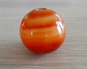 1 inch diameter round vintage FIRE AGATE bead - belonged to an old mala