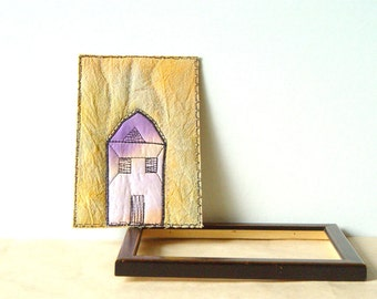 Lonely House in purple and orange fabric postcard