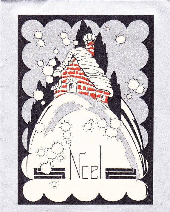 art deco noel 1920s christmas card. Black Bedroom Furniture Sets. Home Design Ideas