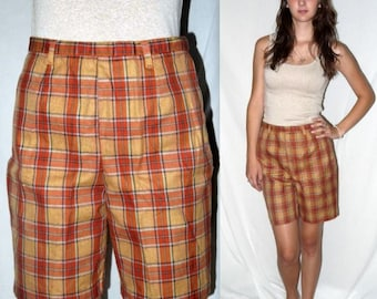 Plaid Punkin ... Vintage 50s 60s shorts / high waist waisted / rockabilly vlv mad men / pin up bombshell side zip .. S M / waist 28