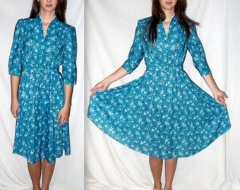 Firefall ... Vintage 70s 80s shirtwaist day dress / 1970s boho / teal floral midi / 1980s puff sleeve full skirt / office secretary .. XS S