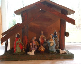 Christmas Nativity Manger Vintage Wood Plaster Mary Jesus Joseph ON SALE