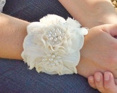 Wedding Bracelet, Bridal, Wedding, Jewelry, Bracelet, Cuff, Ivory, Lace, Feather, Pearl - Last One