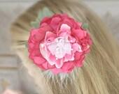 Bridal Hair Flower, Pink Hair Flower, Flower Hair Clip, Hair Accessories, Pink Wedding, Valentines Day - SALE