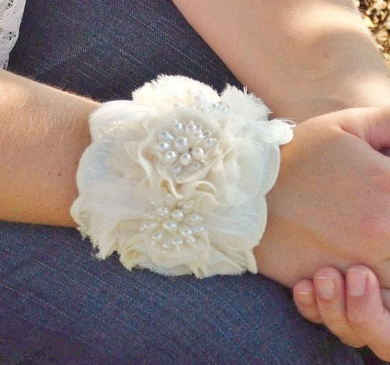 Wedding Bracelet, Bridal, Wedding, Jewelry, Bracelet, Cuff, Ivory, Lace, Feather, Pearl - Last One