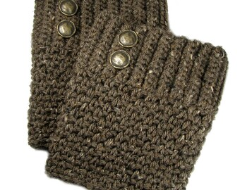 Crocheted Brown Tweed Boot Cuffs With Antique Brass Buttons, Trendy Women's Coffee Mocha Leg Warmer, Boho Hipster Fashion Accessory For Teen