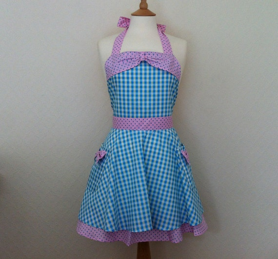 Retro apron with bow, circle skirt, blue and green gingham. 1950s inspired, fully lined.