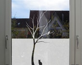 Decorative Window Film for Privacy Tree with Bird and Cat, Window Film Frost, Glass Decal, Decorative Privacy Film Bedroom Window Decor